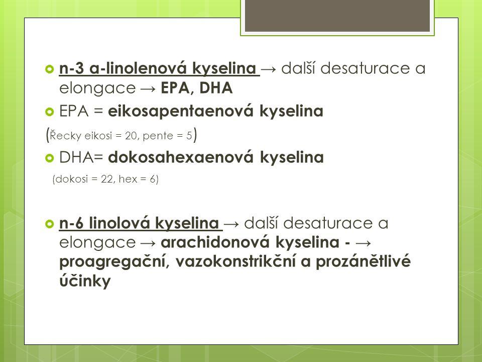  n-3 α-linolenová kyselina → další desaturace a elongace → EPA, DHA  EPA = eikosapentaenová kyselina ( Řecky eikosi = 20, pente = 5 )  DHA= dokosahexaenová kyselina (dokosi = 22, hex = 6)  n-6 linolová kyselina → další desaturace a elongace → arachidonová kyselina - → proagregační, vazokonstrikční a prozánětlivé účinky