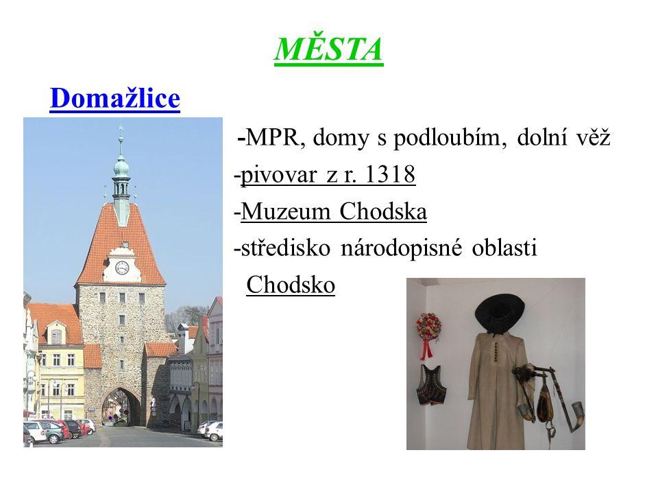MĚSTA Domažlice -MPR, domy s podloubím, dolní věž -pivovar z r.