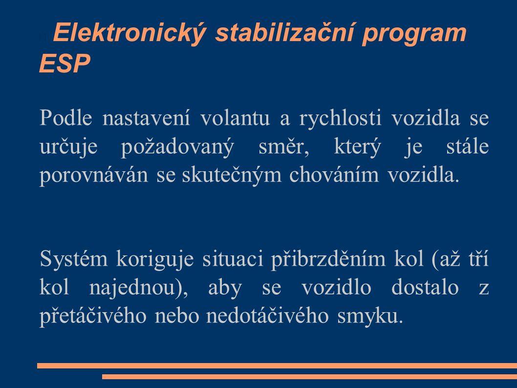 Elektronický stabilizační program ESP Podle nastavení volantu a rychlosti vozidla se určuje požadovaný směr, který je stále porovnáván se skutečným chováním vozidla.