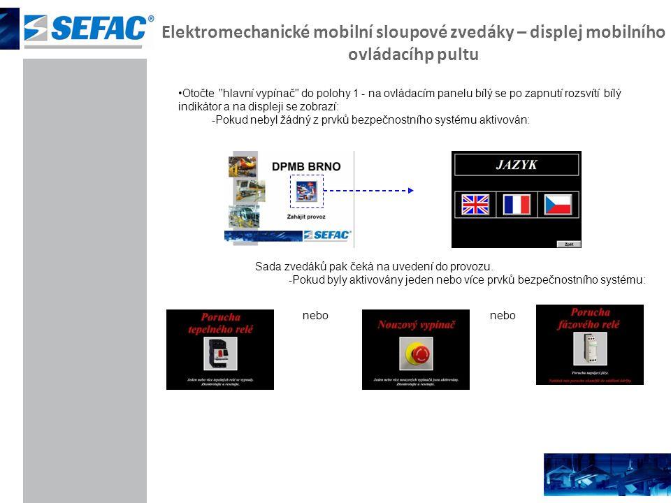 Elektromechanické mobilní sloupové zvedáky – displej mobilního ovládacíhp pultu Otočte