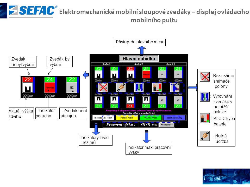 Elektromechanické mobilní sloupové zvedáky – displej ovládacího mobilního pultu Indikátory zved. režimů Indikátor max. pracovní výšky Zvedák není přip
