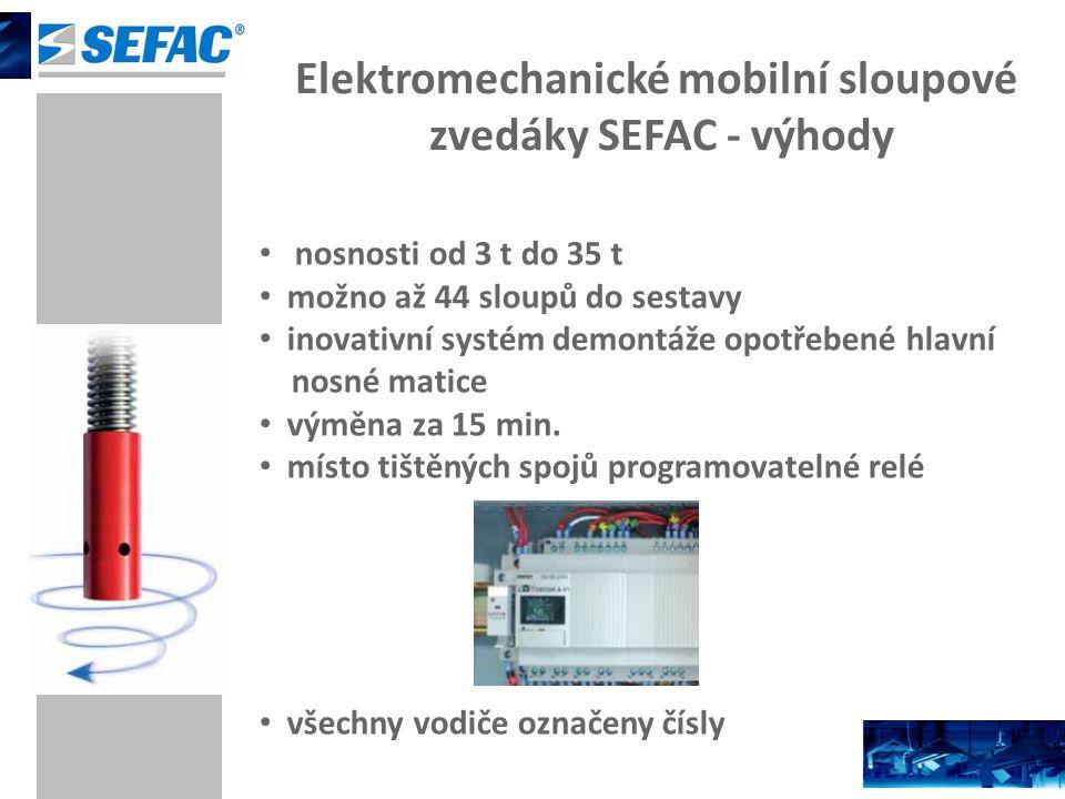 Elektromechanické mobilní sloupové zvedáky SEFAC - výhody nosnosti od 3 t do 35 t možno až 44 sloupů do sestavy inovativní systém demontáže opotřebené hlavní nosné matice výměna za 15 min.