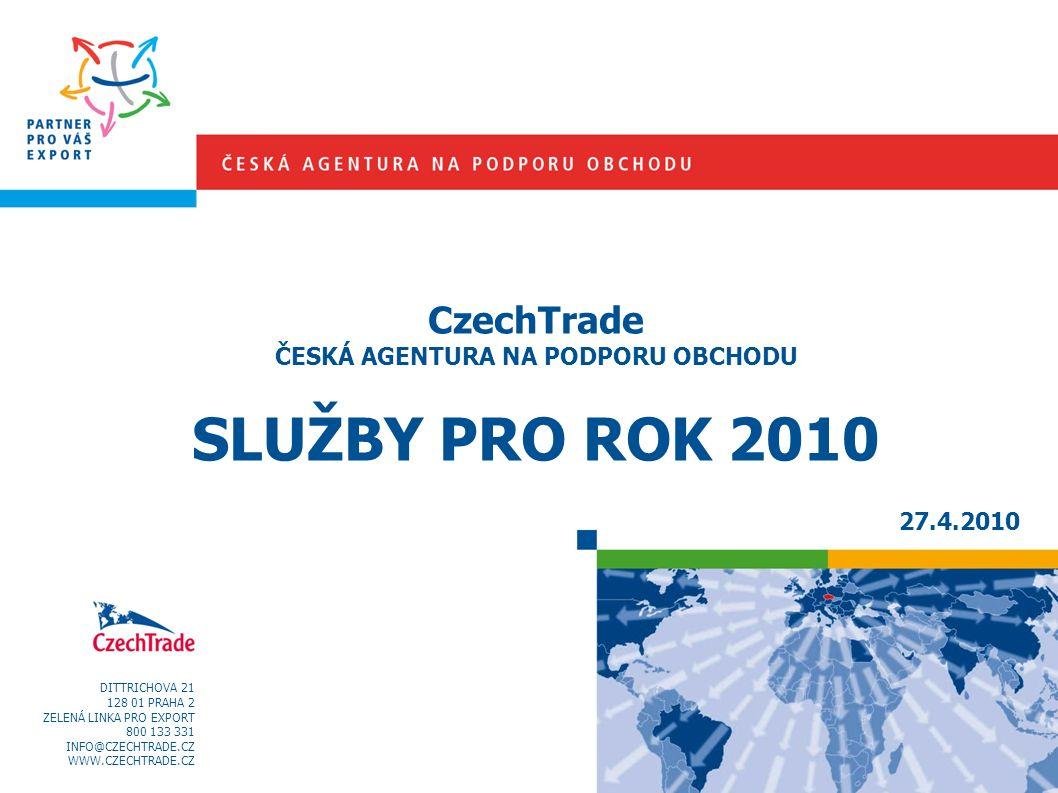 DITTRICHOVA 21 128 01 PRAHA 2 ZELENÁ LINKA PRO EXPORT 800 133 331 INFO@CZECHTRADE.CZ WWW.CZECHTRADE.CZ CzechTrade ČESKÁ AGENTURA NA PODPORU OBCHODU SLUŽBY PRO ROK 2010 27.4.2010