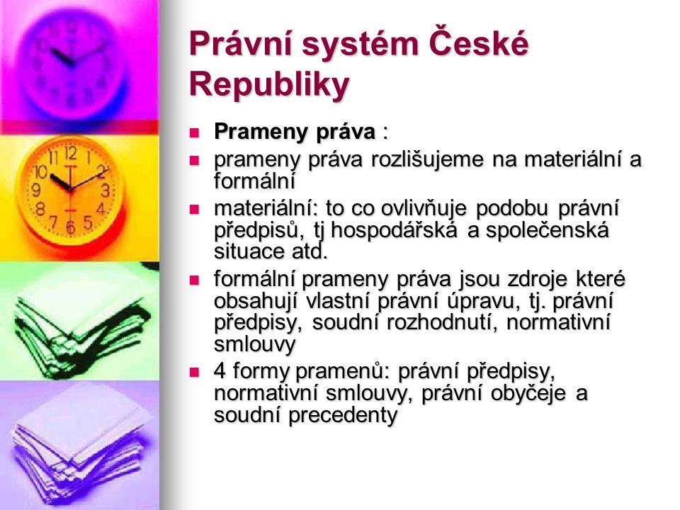 Právní systém České Republiky Prameny práva : Prameny práva : prameny práva rozlišujeme na materiální a formální prameny práva rozlišujeme na materiál