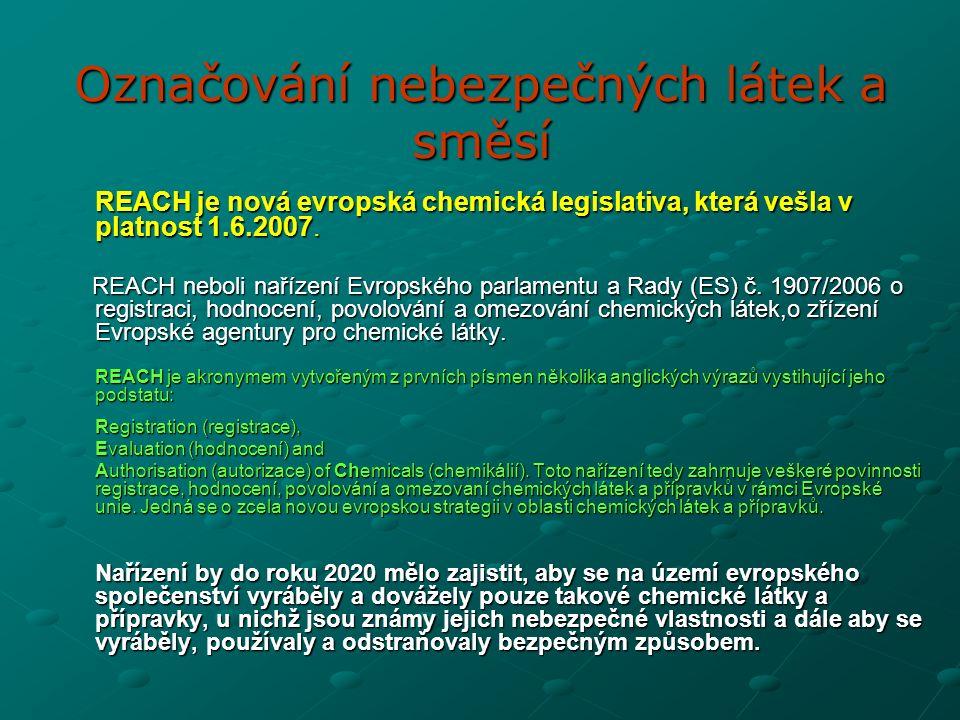 REACH je nová evropská chemická legislativa, která vešla v platnost 1.6.2007.