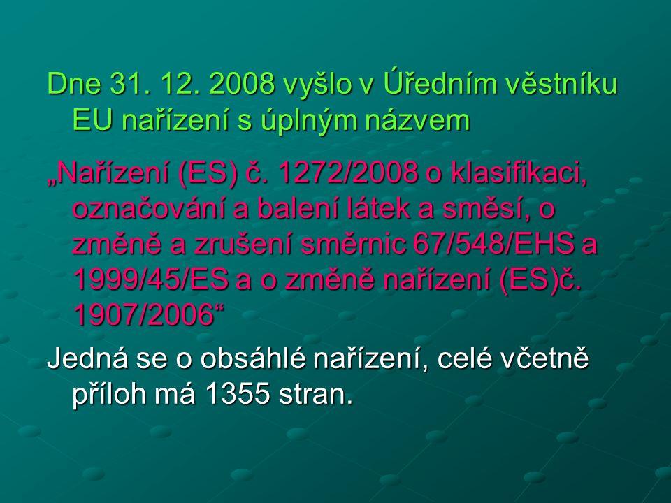 """Dne 31. 12. 2008 vyšlo v Úředním věstníku EU nařízení s úplným názvem """"Nařízení (ES) č."""