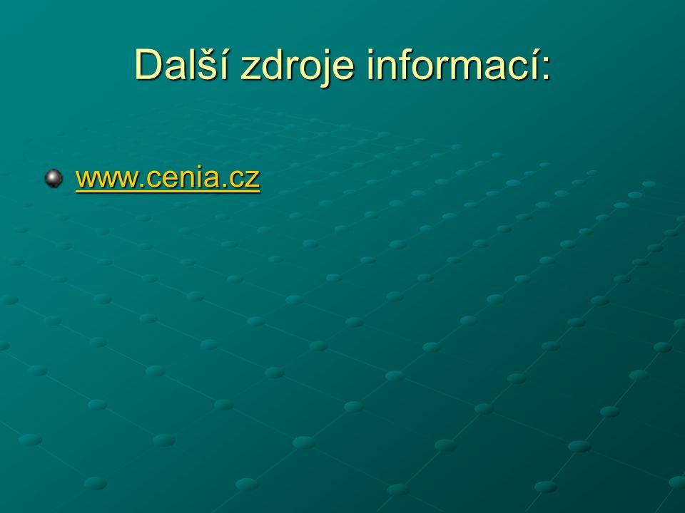 Další zdroje informací: www.cenia.cz www.cenia.czwww.cenia.cz