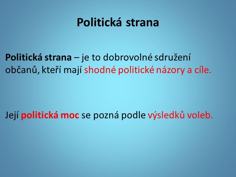 Politická strana Politická strana – je to dobrovolné sdružení občanů, kteří mají shodné politické názory a cíle.