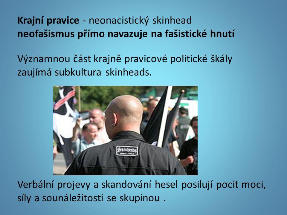 Krajní pravice - neonacistický skinhead neofašismus přímo navazuje na fašistické hnutí Významnou část krajně pravicové politické škály zaujímá subkultura skinheads.