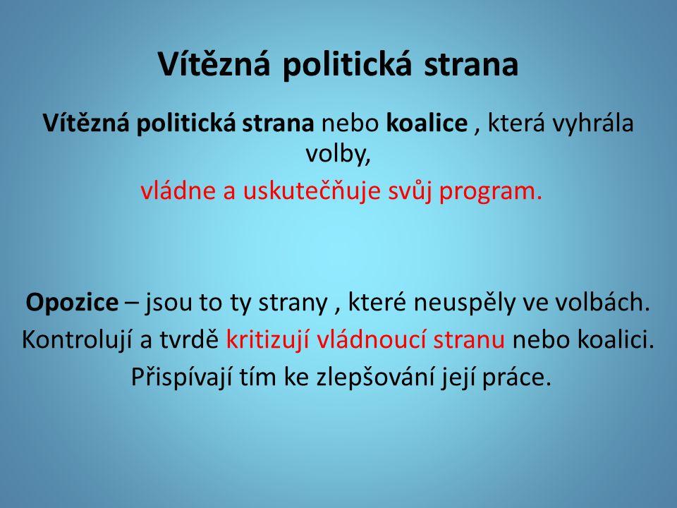Vítězná politická strana Vítězná politická strana nebo koalice, která vyhrála volby, vládne a uskutečňuje svůj program.