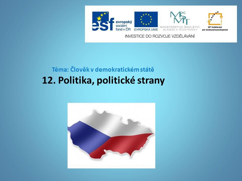 Téma: Člověk v demokratickém státě 12. Politika, politické strany