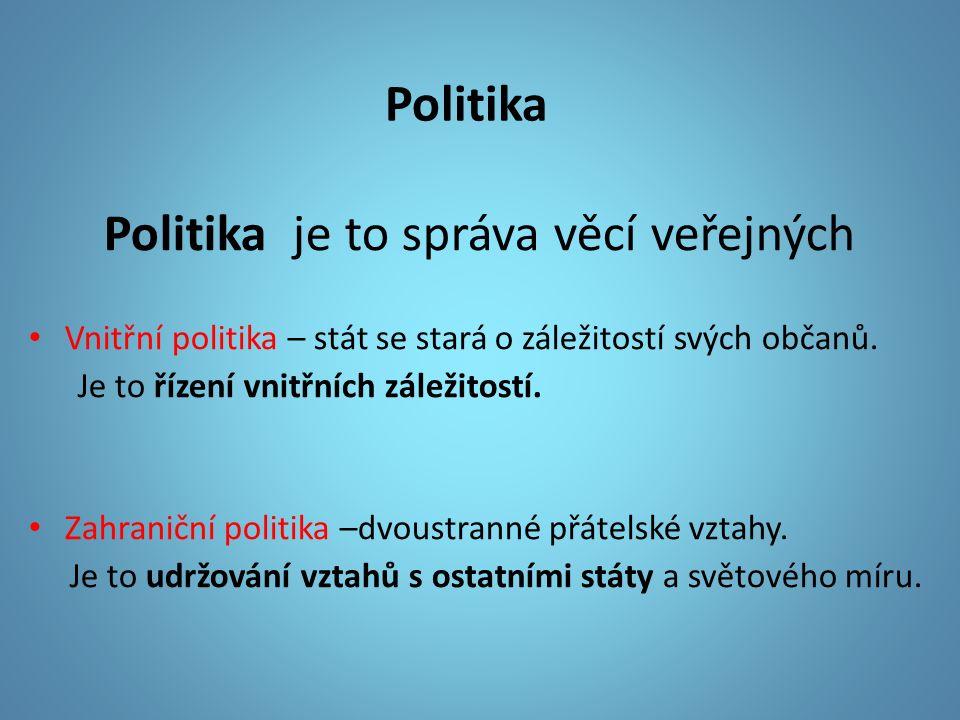 Politika Politika je to správa věcí veřejných Vnitřní politika – stát se stará o záležitostí svých občanů.
