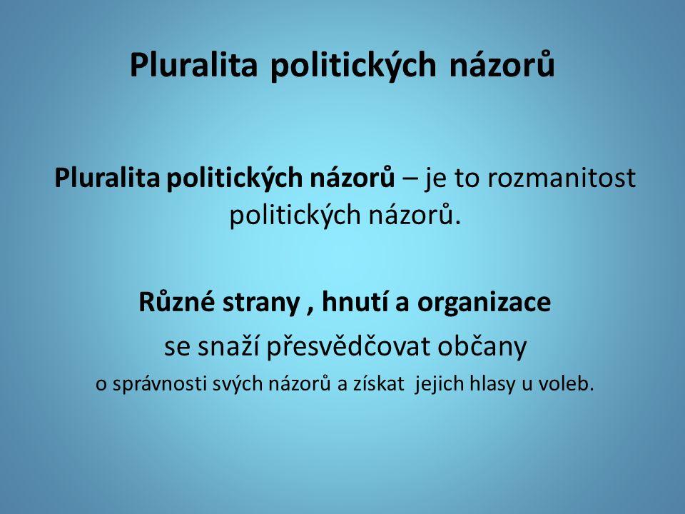Pluralita politických názorů Pluralita politických názorů – je to rozmanitost politických názorů.