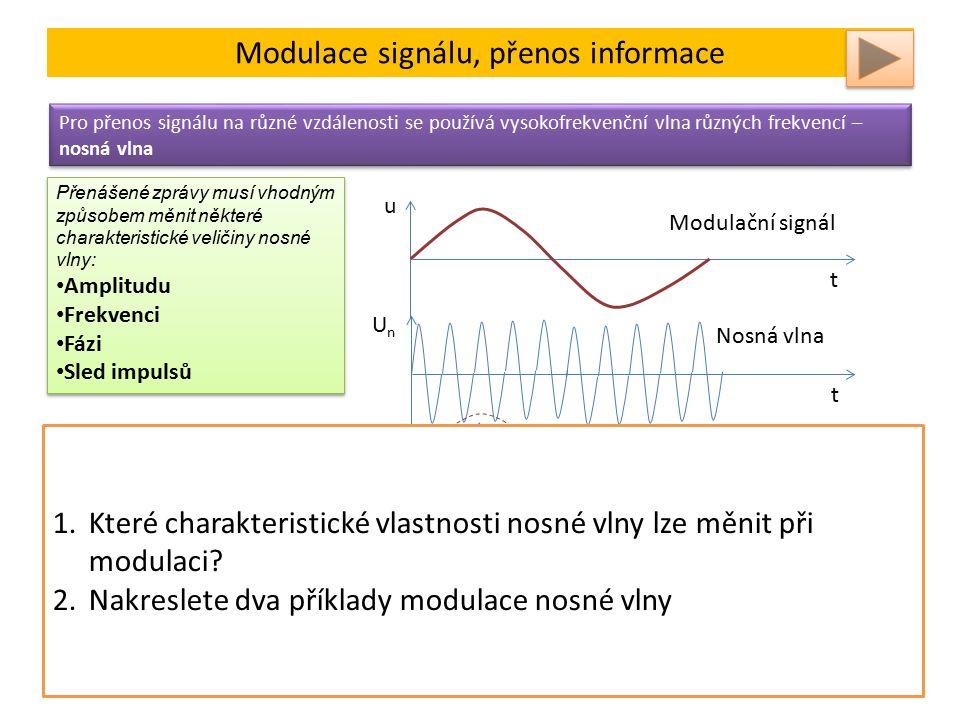 Modulace signálu, přenos informace Pro přenos signálu na různé vzdálenosti se používá vysokofrekvenční vlna různých frekvencí – nosná vlna Přenášené zprávy musí vhodným způsobem měnit některé charakteristické veličiny nosné vlny: Amplitudu Frekvenci Fázi Sled impulsů Přenášené zprávy musí vhodným způsobem měnit některé charakteristické veličiny nosné vlny: Amplitudu Frekvenci Fázi Sled impulsů u t Modulační signál UnUn t Nosná vlna UnUn t Amplitudově modulovaná nosná vlna UnUn t Frekvenčně modulovaná nosná vlna Při amplitudové modulaci (AM), se mění amplituda nosné vlny v závislosti na změnách okamžité hodnoty modulačního signálu.