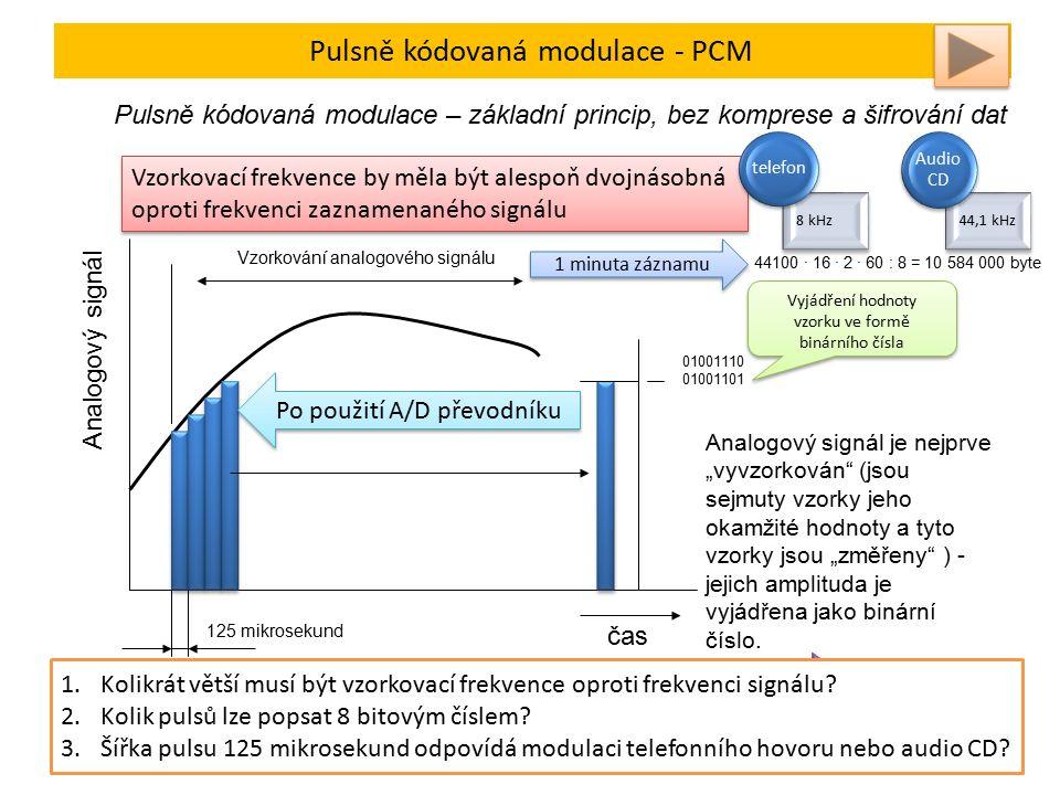 """Pulsně kódovaná modulace - PCM Pulsně kódovaná modulace – základní princip, bez komprese a šifrování dat Vzorkování analogového signálu 125 mikrosekund 01001110 01001101 Vyjádření hodnoty vzorku ve formě binárního čísla čas Analogový signál Analogový signál je nejprve """"vyvzorkován (jsou sejmuty vzorky jeho okamžité hodnoty a tyto vzorky jsou """"změřeny ) - jejich amplituda je vyjádřena jako binární číslo."""