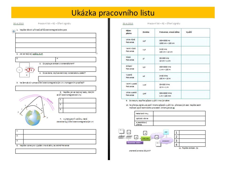 Ukázka pracovního listu