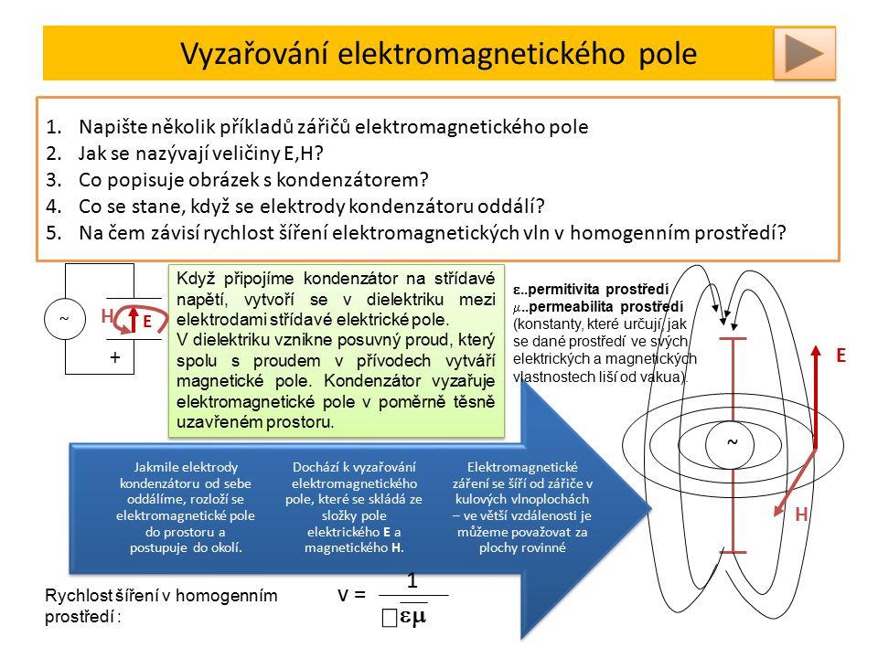 Vyzařování elektromagnetického pole Elektromagnetické záření je kombinace příčného postupného vlnění magnetického a elektrického pole - tedy elektromagnetického pole.