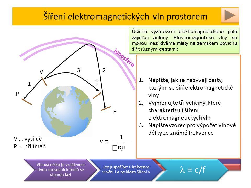 Šíření elektromagnetických vln prostorem ionosféra 1 32 V P P P v = 1   1.Přímá prostorová vlna 2.Ionosférická prostorová vlna 3.Povrchová vlna Účinné vyzařování elektromagnetického pole zajišťují antény.