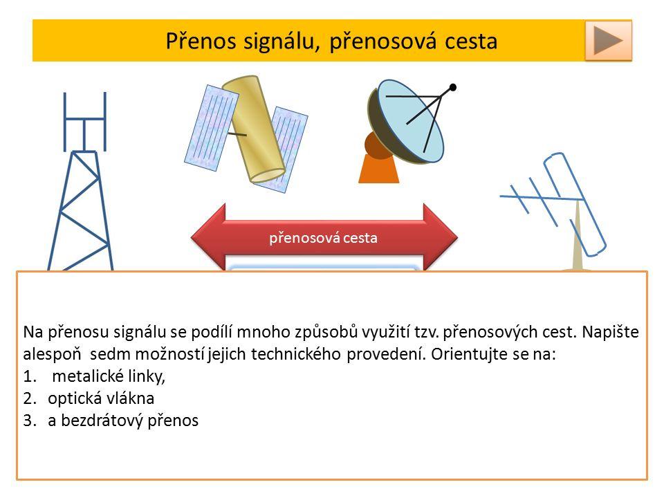 Přenos signálu, přenosová cesta vysílač přijímač přenosová cesta Nejdůležitější veličinou pro posouzení vlastností vedení je chrakteristická impedance Charakteristickými veličinami vedení jsou odpor a indukčnost v podélném směru, vodivost a kapacita v příčném směru vedení Na přenosu signálu se podílí mnoho způsobů využití tzv.