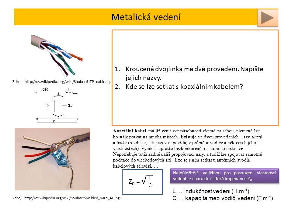Metalická vedení Kroucená dvojlinka je nejpopulárnější typ kabeláže, který se dnes pro realizaci počítačových sítí používá.