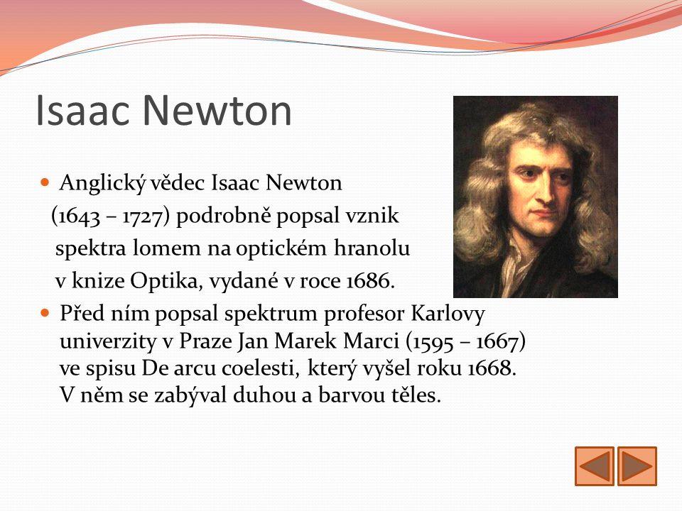 Isaac Newton Anglický vědec Isaac Newton (1643 – 1727) podrobně popsal vznik spektra lomem na optickém hranolu v knize Optika, vydané v roce 1686.