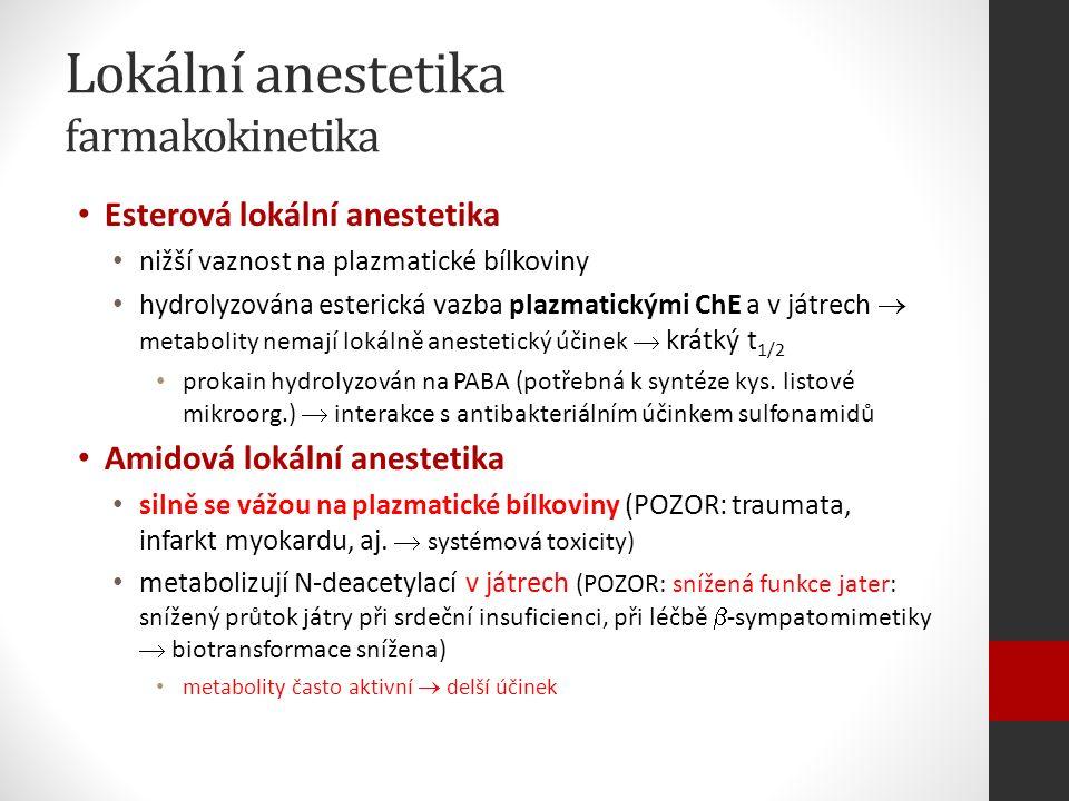 Lokální anestetika farmakokinetika Esterová lokální anestetika nižší vaznost na plazmatické bílkoviny hydrolyzována esterická vazba plazmatickými ChE a v játrech  metabolity nemají lokálně anestetický účinek  krátký t 1/2 prokain hydrolyzován na PABA (potřebná k syntéze kys.