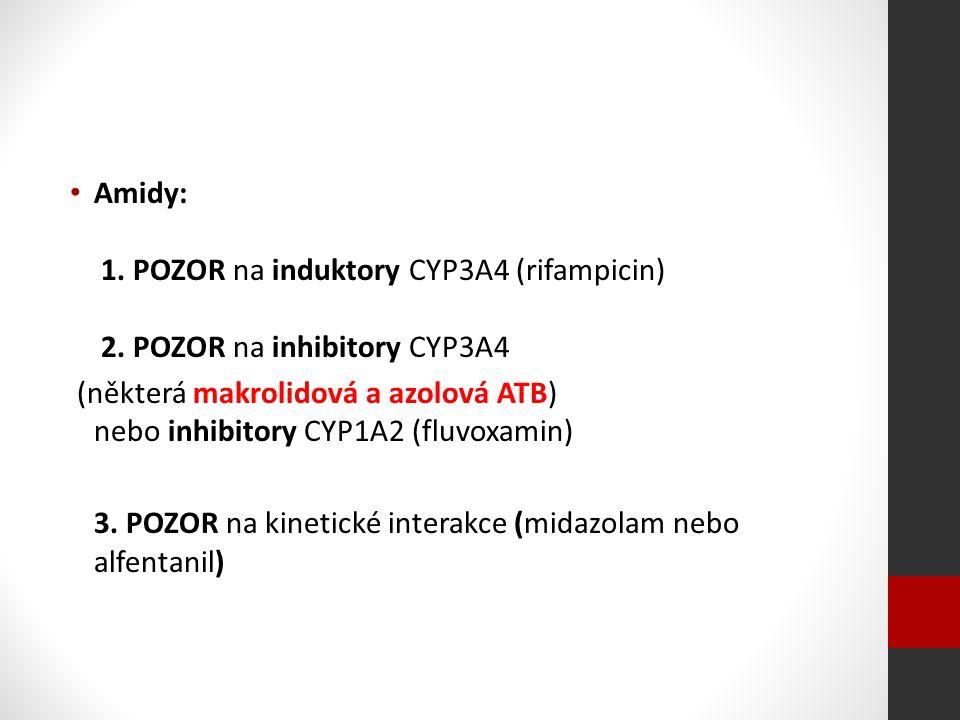 Amidy: 1. POZOR na induktory CYP3A4 (rifampicin) 2.