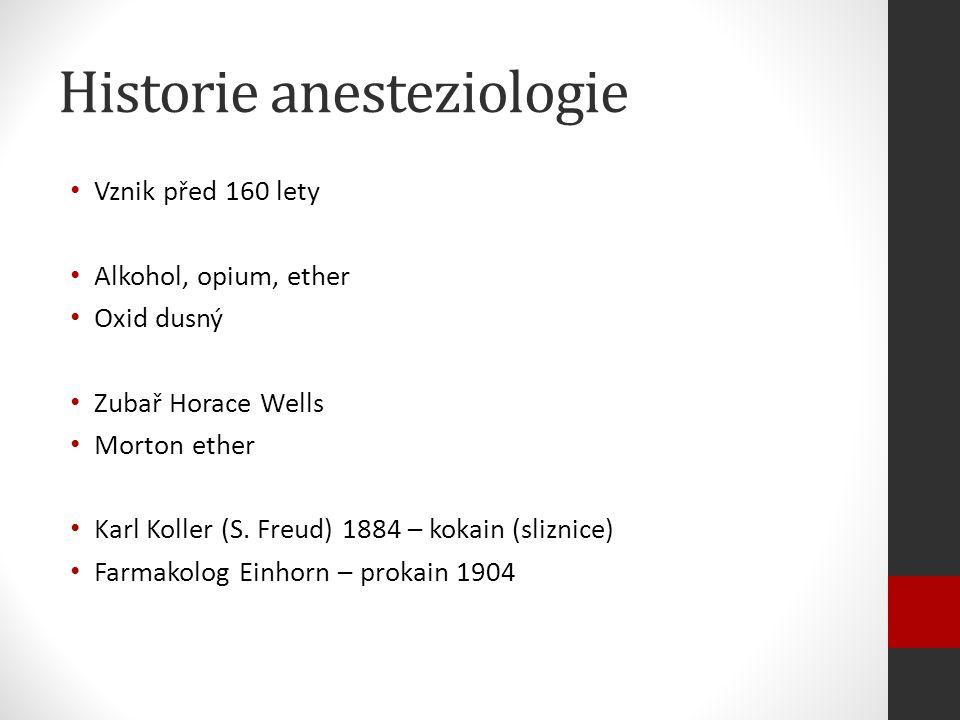 Historie anesteziologie Vznik před 160 lety Alkohol, opium, ether Oxid dusný Zubař Horace Wells Morton ether Karl Koller (S.