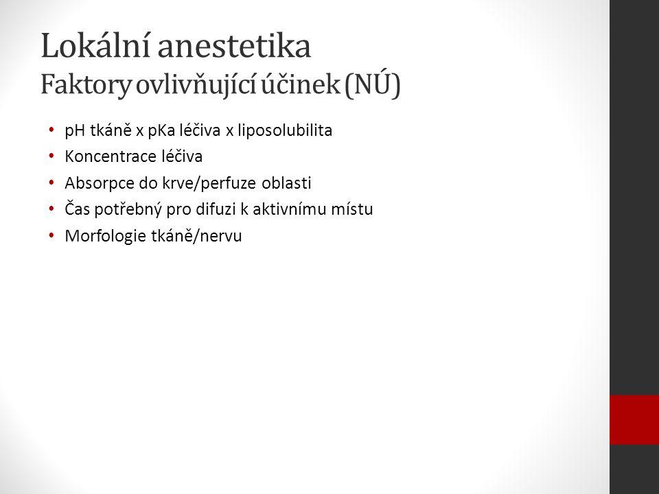 Lokální anestetika Faktory ovlivňující účinek (NÚ) pH tkáně x pKa léčiva x liposolubilita Koncentrace léčiva Absorpce do krve/perfuze oblasti Čas potřebný pro difuzi k aktivnímu místu Morfologie tkáně/nervu