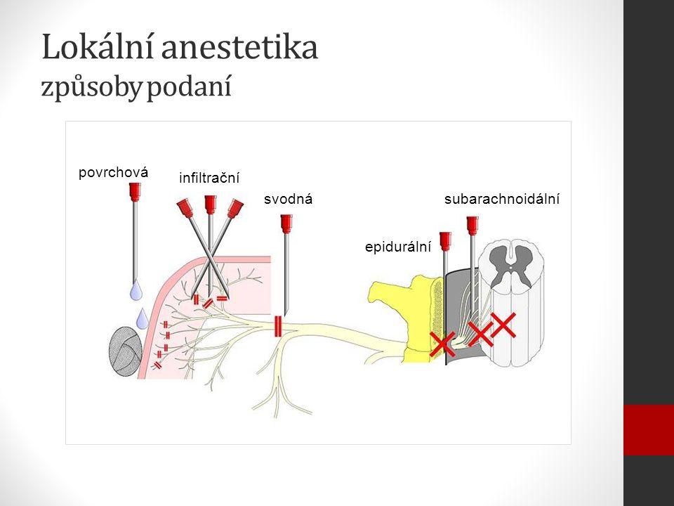 Lokální anestetika způsoby podaní povrchová infiltrační svodná epidurální subarachnoidální