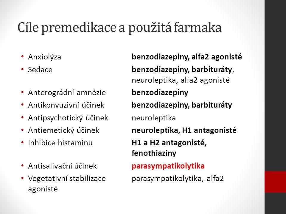 Cíle premedikace a použitá farmaka Anxiolýzabenzodiazepiny, alfa2 agonisté Sedacebenzodiazepiny, barbituráty, neuroleptika, alfa2 agonisté Anterográdní amnéziebenzodiazepiny Antikonvuzivní účinekbenzodiazepiny, barbituráty Antipsychotický účinek neuroleptika Antiemetický účinekneuroleptika, H1 antagonisté Inhibice histaminuH1 a H2 antagonisté, fenothiaziny Antisalivační účinekparasympatikolytika Vegetativní stabilizaceparasympatikolytika, alfa2 agonisté