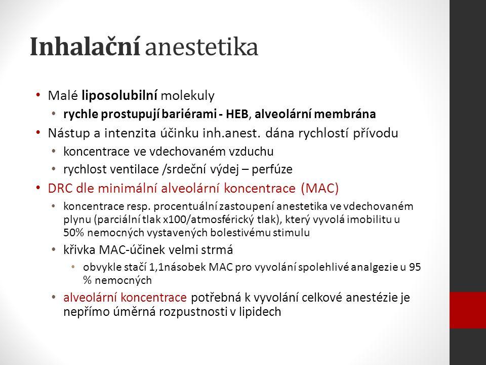 Inhalační anestetika Malé liposolubilní molekuly rychle prostupují bariérami - HEB, alveolární membrána Nástup a intenzita účinku inh.anest.
