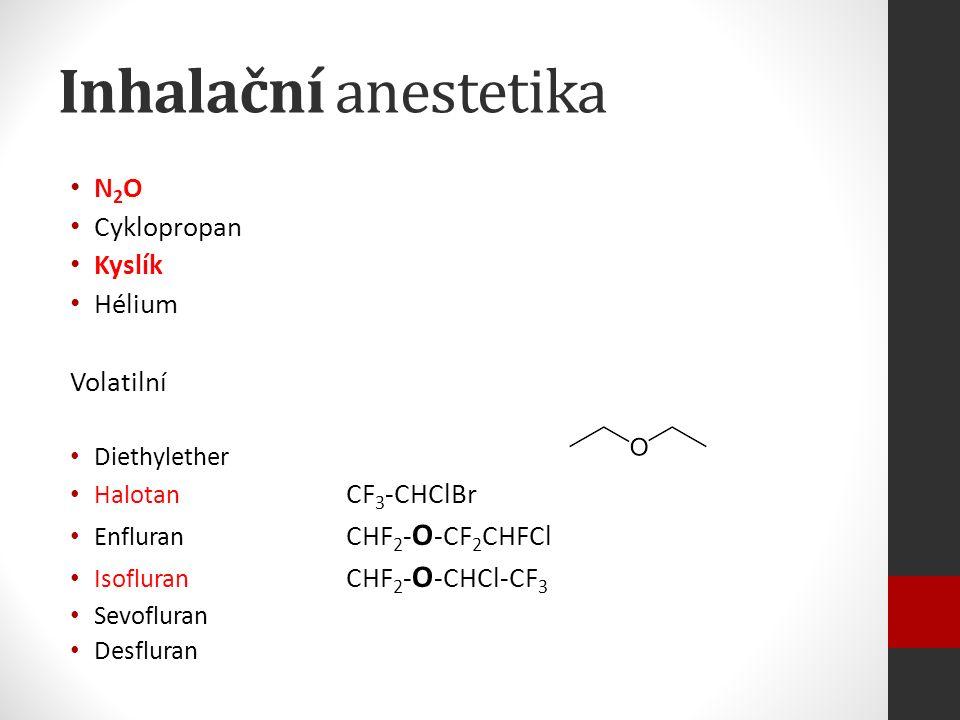 Inhalační anestetika N 2 O Cyklopropan Kyslík Hélium Volatilní Diethylether Halotan CF 3 -CHClBr Enfluran CHF 2 - O -CF 2 CHFCl Isofluran CHF 2 - O -CHCl-CF 3 Sevofluran Desfluran