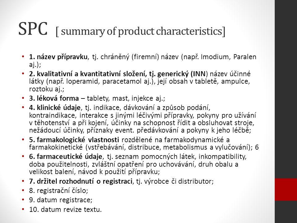 SPC [ summary of product characteristics] 1. název přípravku, tj.