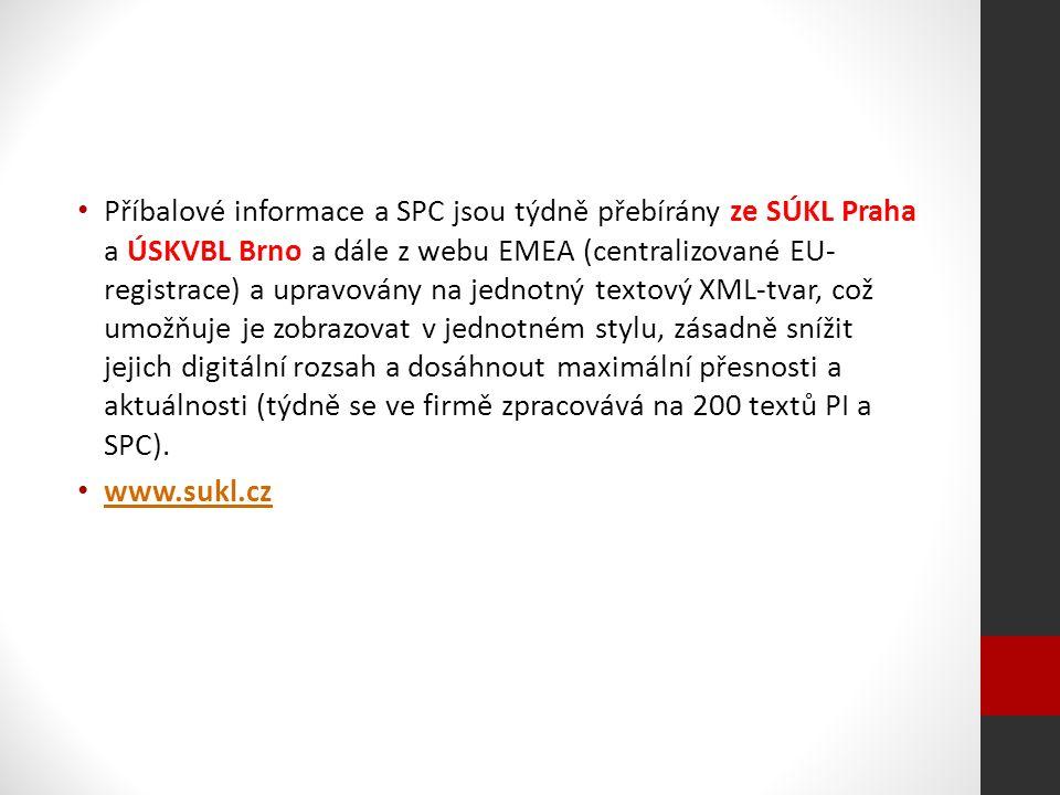 Příbalové informace a SPC jsou týdně přebírány ze SÚKL Praha a ÚSKVBL Brno a dále z webu EMEA (centralizované EU- registrace) a upravovány na jednotný textový XML-tvar, což umožňuje je zobrazovat v jednotném stylu, zásadně snížit jejich digitální rozsah a dosáhnout maximální přesnosti a aktuálnosti (týdně se ve firmě zpracovává na 200 textů PI a SPC).