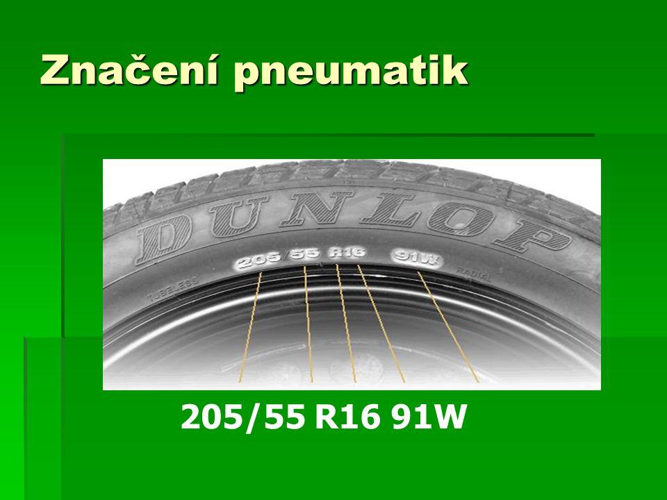 Značení pneumatik 205/55 R16 91W