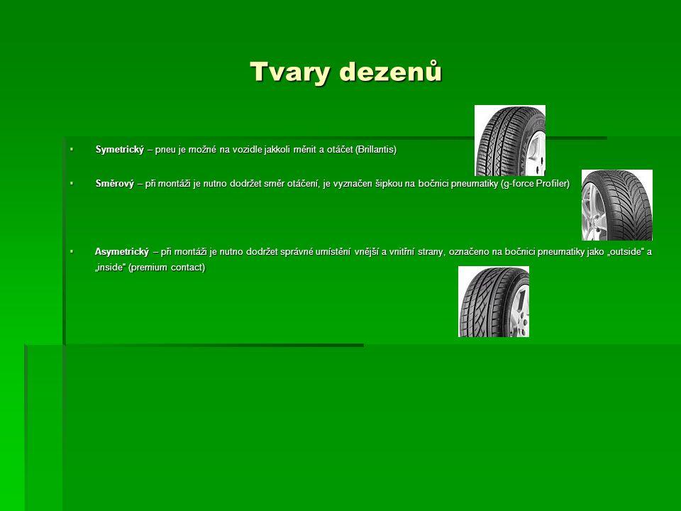 """Tvary dezenů  Symetrický – pneu je možné na vozidle jakkoli měnit a otáčet (Brillantis)  Směrový – při montáži je nutno dodržet směr otáčení, je vyznačen šipkou na bočnici pneumatiky (g-force Profiler)  Asymetrický – při montáži je nutno dodržet správné umístění vnější a vnitřní strany, označeno na bočnici pneumatiky jako """"outside a """"inside (premium contact)"""