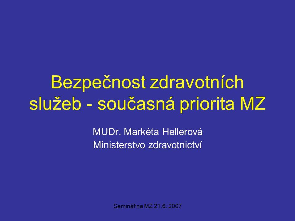 Seminář na MZ 21.6. 2007 Bezpečnost zdravotních služeb - současná priorita MZ MUDr.