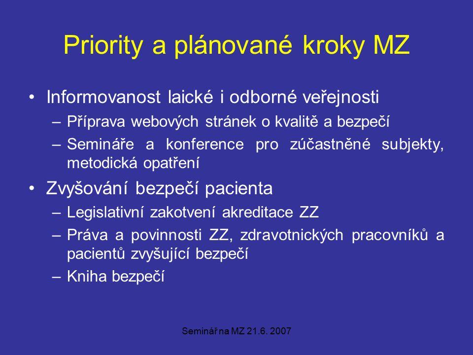 Seminář na MZ 21.6.