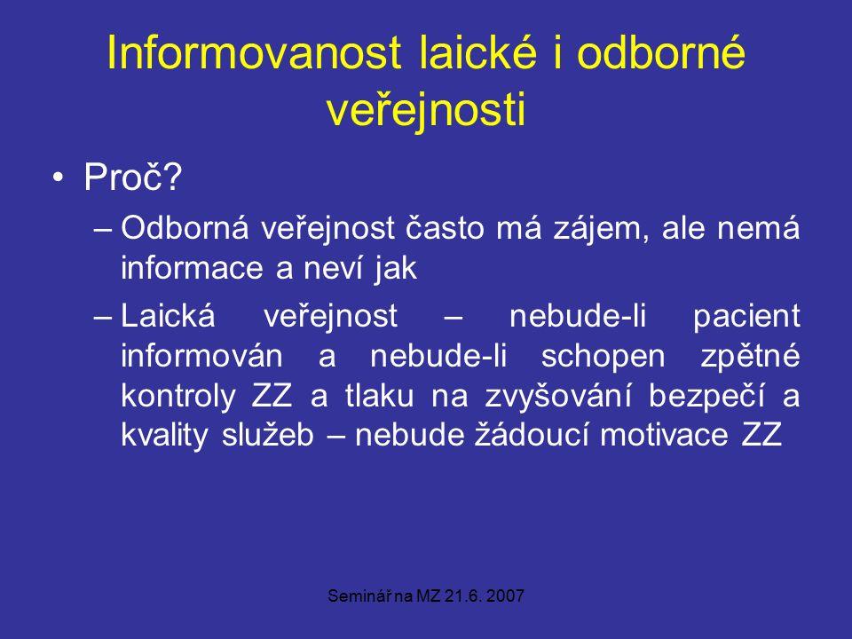 Seminář na MZ 21.6. 2007 Informovanost laické i odborné veřejnosti Proč.