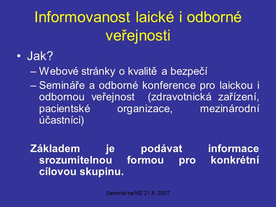 Seminář na MZ 21.6. 2007 Informovanost laické i odborné veřejnosti Jak.