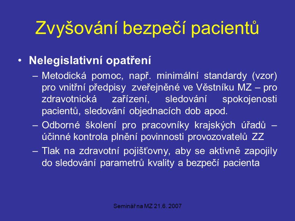 Seminář na MZ 21.6. 2007 Zvyšování bezpečí pacientů Nelegislativní opatření –Metodická pomoc, např.