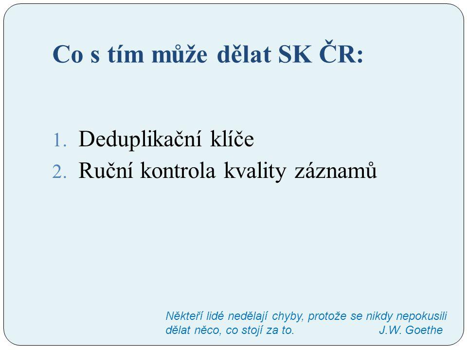 Co s tím může dělat SK ČR: 1. Deduplikační klíče 2. Ruční kontrola kvality záznamů Někteří lidé nedělají chyby, protože se nikdy nepokusili dělat něco
