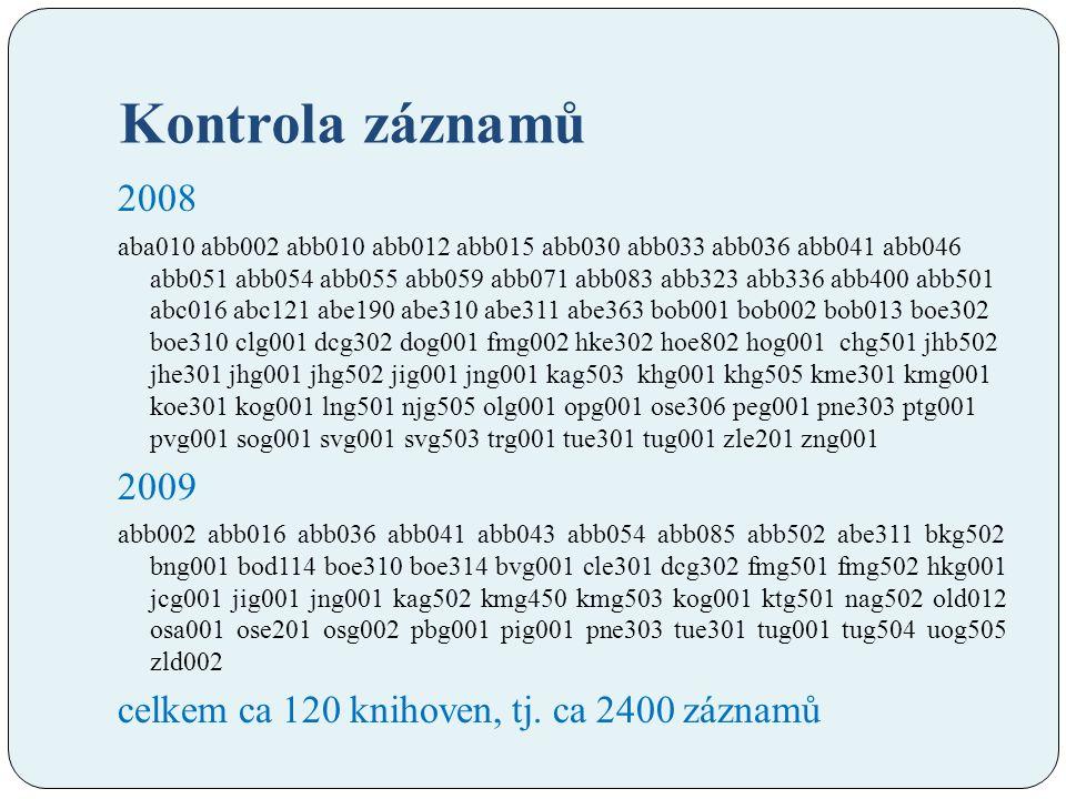 Kontrola záznamů 2008 aba010 abb002 abb010 abb012 abb015 abb030 abb033 abb036 abb041 abb046 abb051 abb054 abb055 abb059 abb071 abb083 abb323 abb336 abb400 abb501 abc016 abc121 abe190 abe310 abe311 abe363 bob001 bob002 bob013 boe302 boe310 clg001 dcg302 dog001 fmg002 hke302 hoe802 hog001 chg501 jhb502 jhe301 jhg001 jhg502 jig001 jng001 kag503 khg001 khg505 kme301 kmg001 koe301 kog001 lng501 njg505 olg001 opg001 ose306 peg001 pne303 ptg001 pvg001 sog001 svg001 svg503 trg001 tue301 tug001 zle201 zng001 2009 abb002 abb016 abb036 abb041 abb043 abb054 abb085 abb502 abe311 bkg502 bng001 bod114 boe310 boe314 bvg001 cle301 dcg302 fmg501 fmg502 hkg001 jcg001 jig001 jng001 kag502 kmg450 kmg503 kog001 ktg501 nag502 old012 osa001 ose201 osg002 pbg001 pig001 pne303 tue301 tug001 tug504 uog505 zld002 celkem ca 120 knihoven, tj.