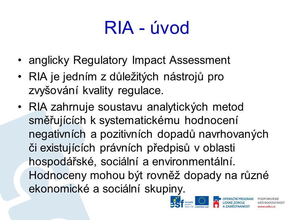 RIA - úvod RIA je soustava metod směřujících k systematickému zhodnocení negativních nebo pozitivních dopadů variant navrhovaných (ex ante) či existujících (ex post) regulací.