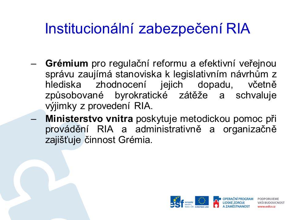 Institucionální zabezpečení RIA –Grémium pro regulační reformu a efektivní veřejnou správu zaujímá stanoviska k legislativním návrhům z hlediska zhodnocení jejich dopadu, včetně způsobované byrokratické zátěže a schvaluje výjimky z provedení RIA.