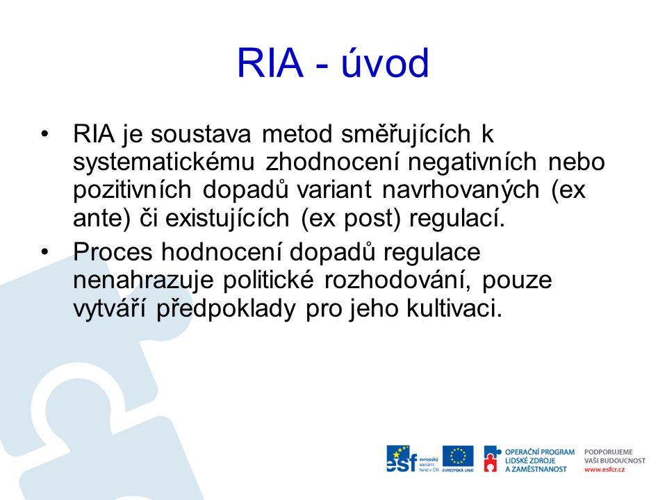 Poznatky z praxe RIA Příklady dobré praxe se častěji objevují u resortů, které zpracovávají více návrhů právních předpisů a mají specializovaný útvar pro RIA.
