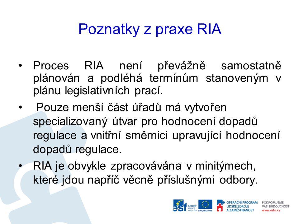 Poznatky z praxe RIA Proces RIA není převážně samostatně plánován a podléhá termínům stanoveným v plánu legislativních prací.