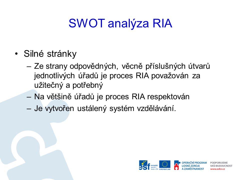 SWOT analýza RIA Silné stránky –Ze strany odpovědných, věcně příslušných útvarů jednotlivých úřadů je proces RIA považován za užitečný a potřebný –Na většině úřadů je proces RIA respektován –Je vytvořen ustálený systém vzdělávání.