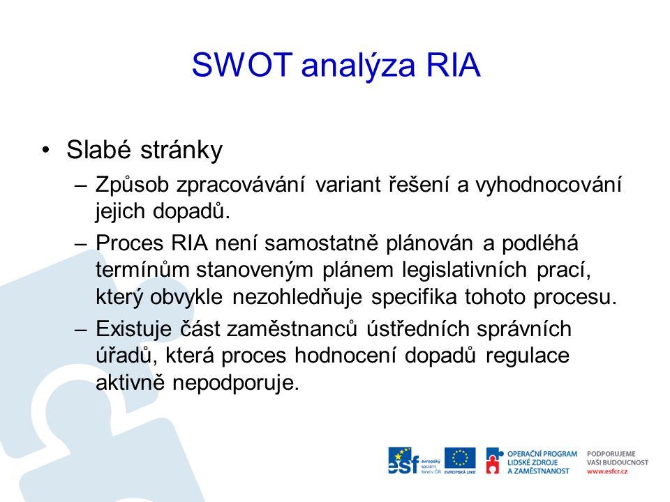 SWOT analýza RIA Slabé stránky –Způsob zpracovávání variant řešení a vyhodnocování jejich dopadů.